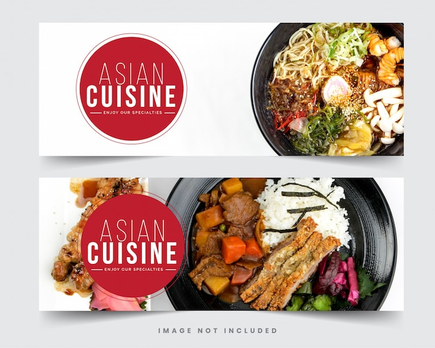 Design restaurant banner for social networks, template for advertising
