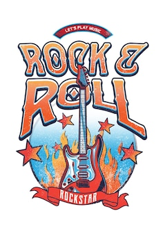 Design rock n roll for your graphic tees or poster