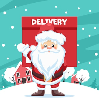 Design of santa claus delivering delivery in the city at christmas