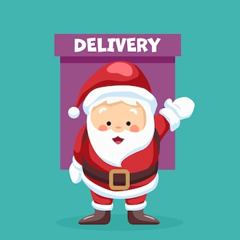 Design of santa claus making delivery