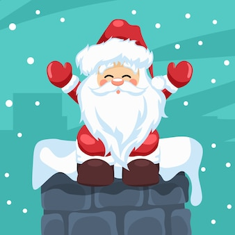 Design of santa claus sitting in a fireplace at christmas