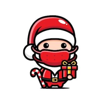마스크를 쓰고 선물을 가져 오는 디자인 산타 클로스