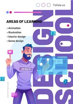 Banner web di fumetto scuola di design con illustratore uomo utilizzando l'interfaccia artificiale