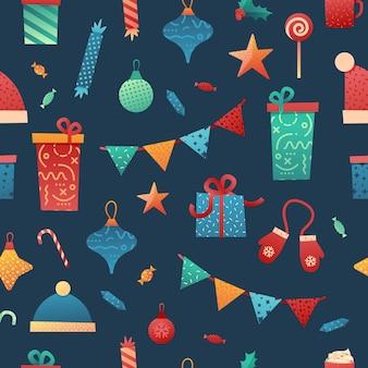 메리 크리스마스 유행 일러스트와 함께 완벽 한 패턴 디자인