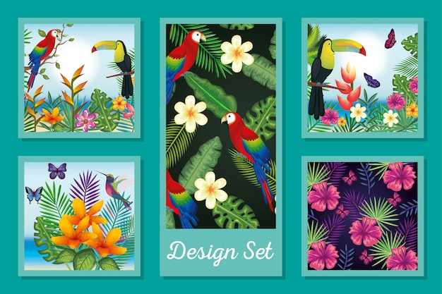 Design set of animals with flowers and leafs tropicals