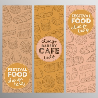 Design set bakery cafe.hand drawn graphic.
