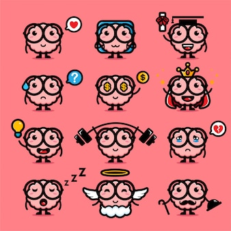 Design set of cute brain