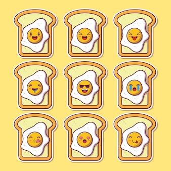 かわいい卵トーストマスコット絵文字のデザインセット。