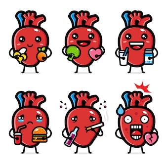 心臓器官のデザインセット