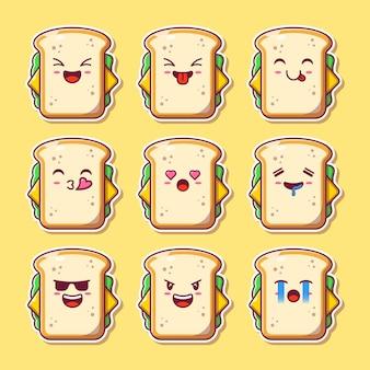 サンドイッチマスコット絵文字のデザインセット。