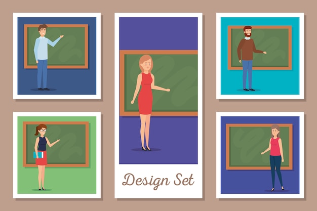 Design set of teachers with chalkboard