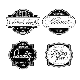 Design set of universal bottle labels isolated on the white background