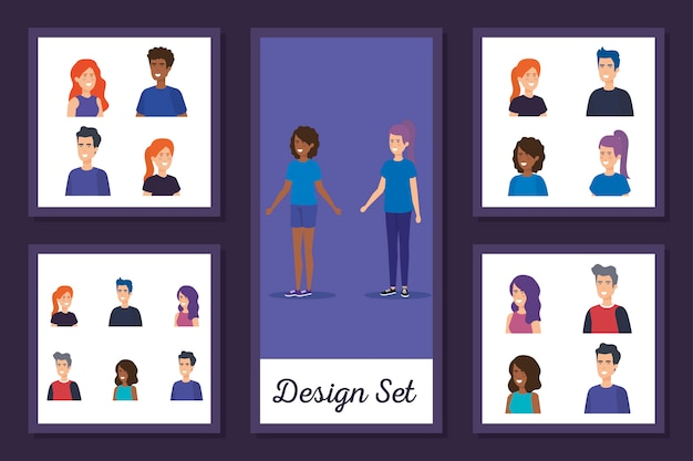 Design set of young people avatar character