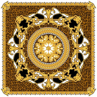 Design of silk scarf with animal print and golden scrolls