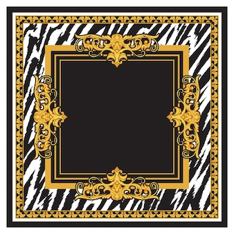 Design of silk scarf with golden rococo elements and animal skin print