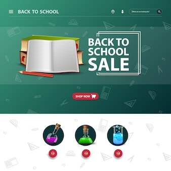 The design of the site interface, with the event back to school