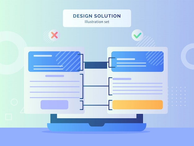 Design solution concept with computer laptop screen and design layout with modern flat style Premium Vector