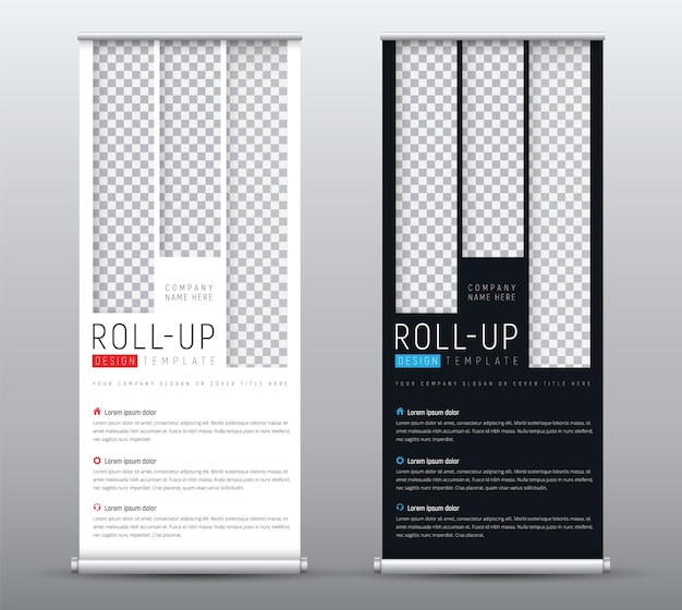 Design a standard roll up banner for presentations with vertical rectangles for the image.