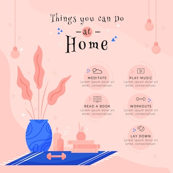 Design for staying at home infographic with things to do