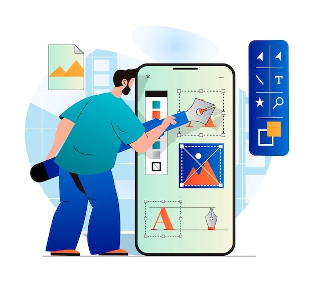 モダンなフラットデザインのデザインスタジオのコンセプトグラフィック要素を描く男のデザイナー