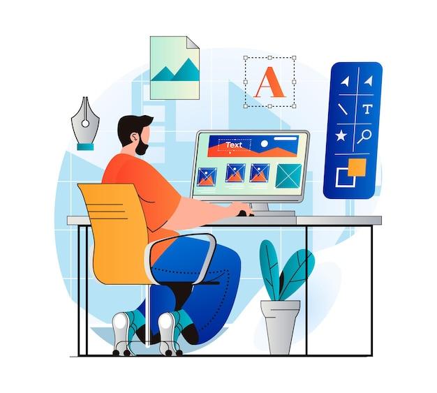 Design studio concept in modern flat design man designer creates content for site drawing