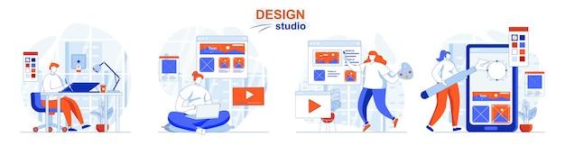 Design studio concept set illustrators draw graphic elements and pictures for web