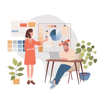 Design studio interior vector flat illustration male and female characters