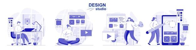 평면 디자인에 고립 된 디자인 스튜디오 세트 사람들은 그래픽 요소를 그리고 웹 콘텐츠를 만듭니다.