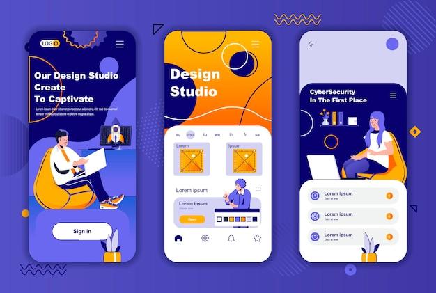 소셜 네트워크 스토리를위한 design studio 모바일 앱 화면 템플릿