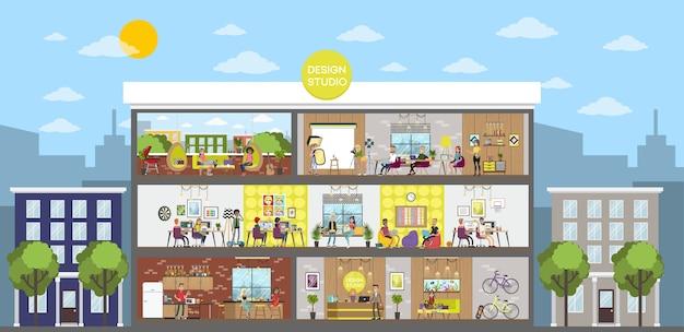 デザインスタジオオフィスビルのインテリア。創造的な人々がワークスペースで一緒に働いて、アイデアを共有し、コーヒーなどを飲みます。分離フラットベクトルイラスト