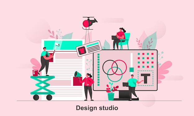 Design studio web concept design in flat style with tiny people characters