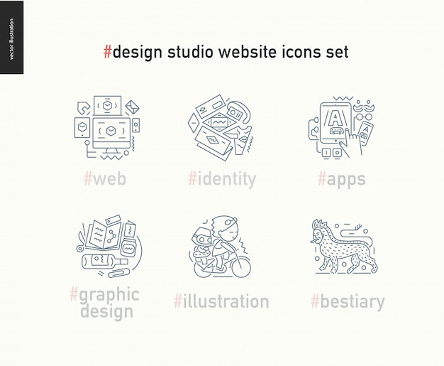Design studio website outlined icons set