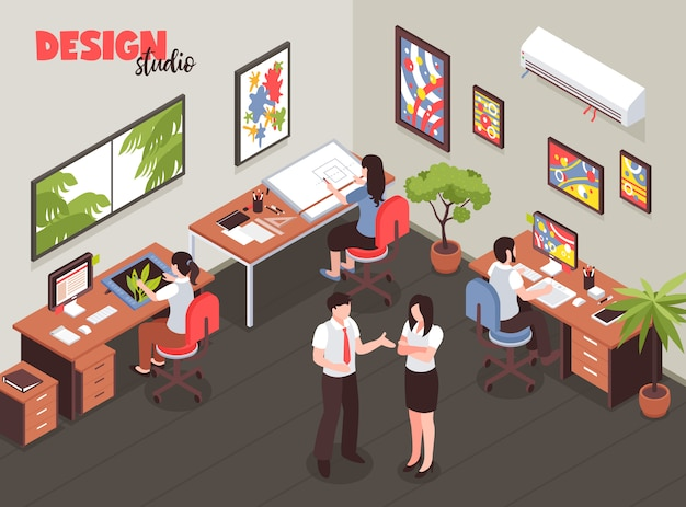 Design studio with leadership and artists during creative process at work place isometric vector illustration