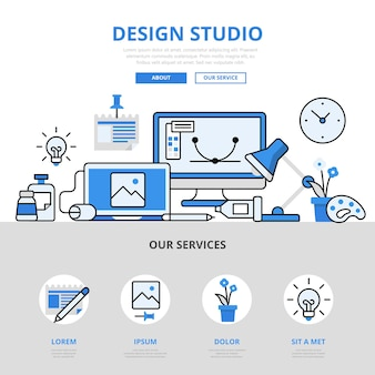 Design studio workplace device portfolio concept flat line style.