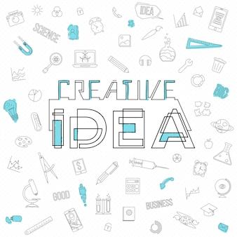 창의적인 사고를 브레인스토밍하는 솔루션을 찾는 큰 아이디어의 디자인 스타일 개념