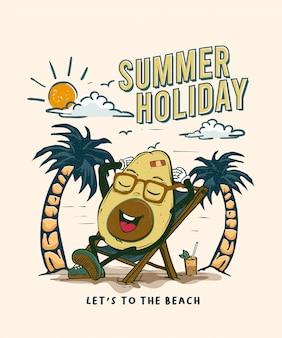 Дизайн летнего отдыха, талисман авокадо пойдем на пляж