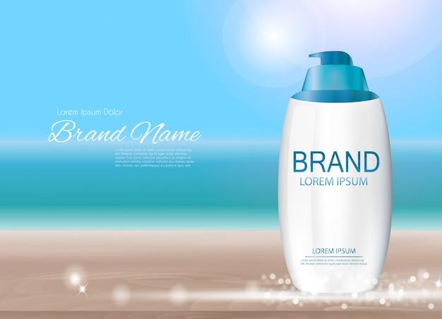 Design sunscreen product 3d realistic illustration
