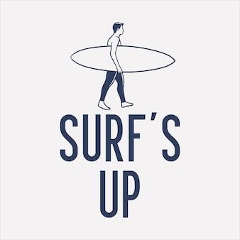 その上を歩くサーファーと一緒にサーフィンをデザインするヴィンテージイラスト