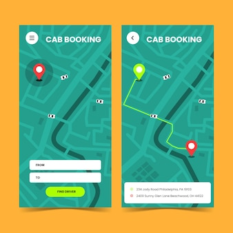 Design for taxi app interface