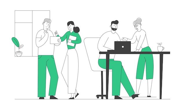 사무실 책상에 앉아있는 창의적인 남성과 여성의 디자인 팀 그룹, 스튜디오 사무실 직원에서 일하는 캐릭터