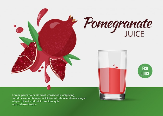 Design template for ads of pomegranate juice on grey.