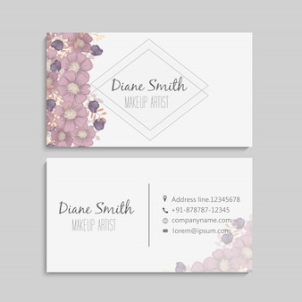 Design template business card with colorful texture and flower, leaf, herb.