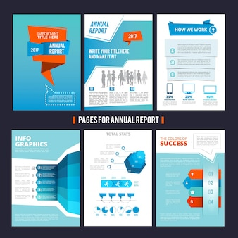 Design template of corporation annual report. vector pages layout with place for your text