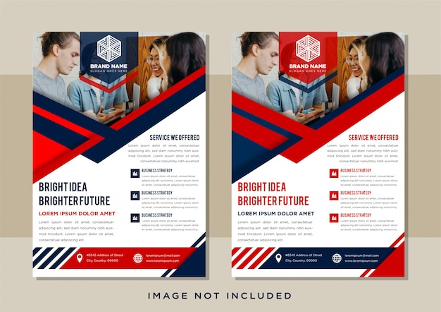 Design template flyer. abstract white flat background with combination red and blue modern geometric element designs. space for photo