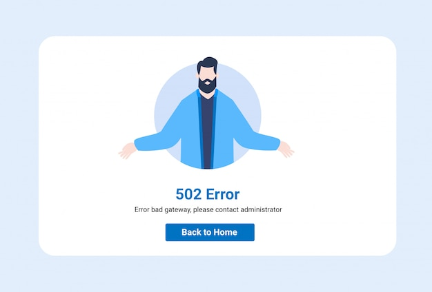 Design template illustration ui for web page with 502 error.