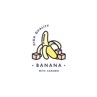 Design template logo and emblem - taste and liquid for vape - banana with caramel. logo in trendy linear style.