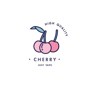 Design template logo and emblem - taste and liquid for vape - cherry. logo in trendy linear style.