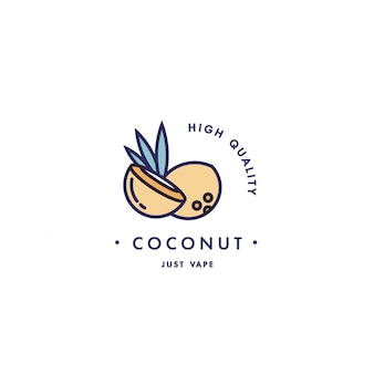 Design template logo and emblem - taste and liquid for vape - coconut. logo in trendy linear style.