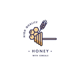 Design template logo and emblem - taste and liquid for vape - honey and cereals. logo in trendy linear style.