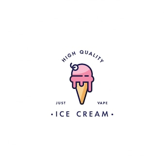 Design template logo and emblem - taste and liquid for vape - ice cream. logo in trendy linear style.